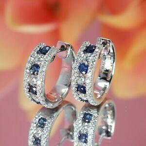 2.80Ct Round Brilliant Cut Blue Sapphire Hoop Earrings in 14k White Gold Finish