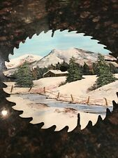 Hand Painted Saw Blade Art/ Signed O.L Turner