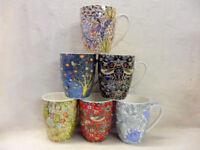 set of 6 china aspen mugs in vintage assorted William Morris designs