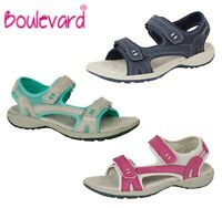 LADIES Leather Touch Fastening Walking Sandals Navy Grey Pink Size 3 4 5 6 7 8 9