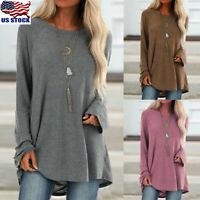 Womens Long Sleeve Tunic Tops Shirt Casual Round Neck Pullover Jumper Blouse USA