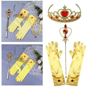Princess Belle Dress Up Party Accessories Gift Gloves Tiara And Wand Outfits
