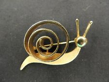 Vintage All Goldtone Coiled Shell Snail Brooch MCM Deco Pin Whimsical Fun WOW