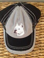 EMBROIDERED DOG BREED WHITE PIT BULL PITBULL LOVER GIFT BLACK GRAY BASEBALL CAP
