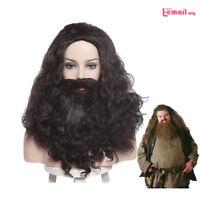 Halloween Rubeus Hagrid Cosplay Wig Long Curly Wavy Hair With Beard Mustache