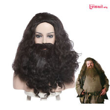 Harry Potter Rubeus Hagrid Cosplay Wig Long Curly Wavy Hair With Beard Mustache