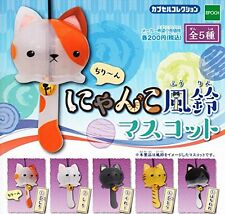 Nyanko Wind Chimes Mascot 5 Pics Set Capsule Toys Gashapon From Japan