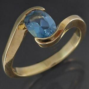 Semi-Bezel Solid 9k Yellow GOLD BLUE TOPAZ SOLITAIRE RING on Bypass Band Sz N1/2