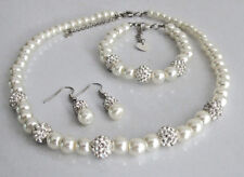 Bridesmaid pearl and rhinestone Necklace Set,Wedding Jewelry Set, Bridal Jewelry