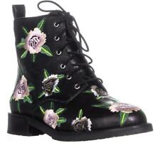 Rebecca Minkoff Gerry Embroidered Lace-Up Women's Black Floral Boots Sz 6.5 M