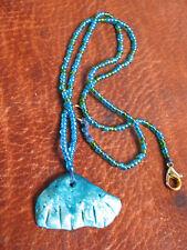 blaue Perlenkette schimmernde Keramikmuschel Mermaid sea goddess türkis Meer