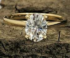 2 Ct Oval Cut Moissanite Simple Solitaire Engagement Ring 14K Yellow Gold Finish