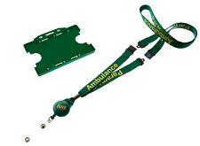 NHS Green ID Card Holder & NHS Ambulance Paramedic Lanyard with YoYo Badge Reel