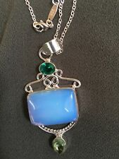 Opalite & Peridot Silver Plate Pendant & 925 Sterling Silver Chain.NEW.UK SELLER