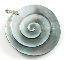 Hand Carved Spiral Mother of Pearl Shell Pendant Women Fashion Jewelry CA079