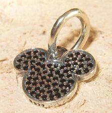 BLACK CRYSTAL MOUSE EARS .925 Sterling Silver European Charm Bead DS1