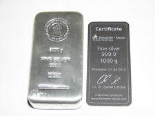 1 kg 1000 Gramm Silberbarren 9999 Feinsilber Heimerle Meule mit Zertifikat