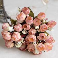 1 Bouquet of 15 Buds Artificial Silk Small Rose Flower Wedding Home Garden Decor