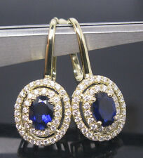 Solid 14K Yellow Gold Natural Blue Sapphire Diamond Earring Consumer-design