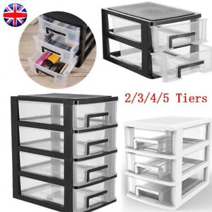 2/3/4/5 Plastic Storage Drawer Box Organizer Cabinet Office Home Desktop Tidy