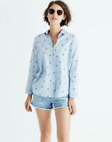 Madewell Womens Shrunken Trapeze Shirt in Pineapple Print Size XS Top NWT Blue