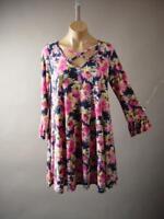 Navy Blue Pink Floral Pattern Flare Babydoll Casual Mini 266 mv Dress S M L XL