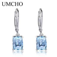 3.65ct Natural Sky Blue Topaz GEMSTONE Earrings 925 Sterling Silver Aquamarine