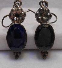 Vintage Estate~16 cts Genuine Sapphire 925 Sterling Silver Dangle Earrings