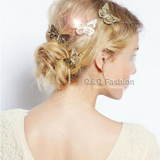 Pack 4 Chic Filigree Butterfly French Updo Hair Pin Clip Dress Snap Barrette