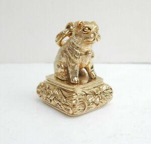 Gold Plated Pug Dog Signet Seal Stamp Envelope Press