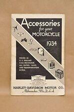 Vtg 1934 Harley Davidson Motorcycle Accessories Apparel Catalog Brochure Book