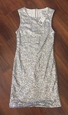 Forever 21 Sexy Silver Sequin Stretch Mini Dress Back Zip Club Dance NEW Sz S
