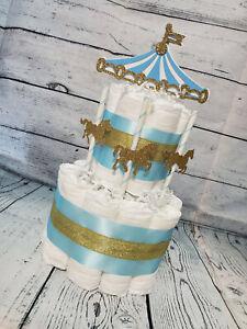 2 Tier Diaper Cake - Carousel Merry Go Round Theme - Boy Blue White Gold Horses