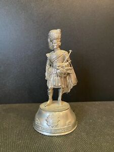 Chas Stadden signed pewter figure Scots Guards piper
