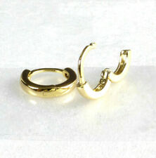 Children Hoop Earrings Small Tiny Teenie Weenie 14K Yellow Gold Plated 10x2mm UK