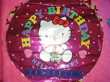"""HELLO KITTY BALLOON HAPPY BIRTHDAY 17"""" ROUND NEW MYLAR FOIL Made In the USA"""