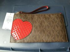 New Michael Kors Brown red large heart zip clutch with tags