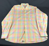 BURBERRY Men's Pastel Colored Squares Pattern Long Sleeves Pocket Shirt Size L