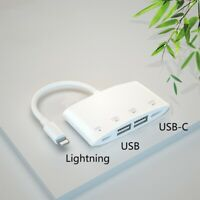 Lightning to Dual USB + Type-C Hub For iPhone 11 Pro Max new SE Data File Photo