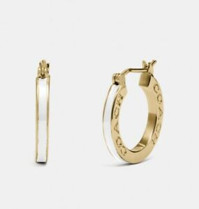 NWT Coach White Enamel Gold Tone Huggie Earrings/ SOLD OUT/ FAST FREE SHIPPING