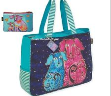 Laurel Burch Blossoming Pups OVERSIZED Tote Travel Beach Sport Dog Makeup Bag Nw