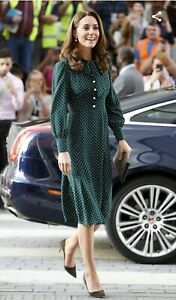 LK Bennett Green Polka Dot Dress Size 10 As Seen On Kate Middleton