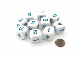 Pack of 10 D6 20mm Round Opaque Numbered 1 to 6 Dice - White with Blue Numbers