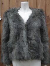 H & M Cozy Animal Print Faux Fur Long Sleeve Coat Jacket Size UK 8