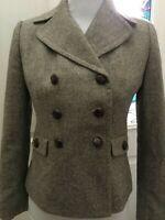 Women's Ann Taylor Loft Double Breasted Suit Jacket Blazer Brown Size 2 Petite
