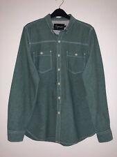 Topman 100% Cotton Denim Men's Shirt UK Size L Chest 40 To 42 Green
