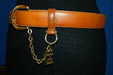 Vintage Leather Shop USA Women's Belt Paris New York Gold Hardware Chain