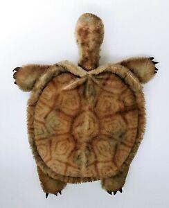 Vtg Steiff Large Turtle Stuffed Plush Stiff Hair Tortoise Slo w/Button Germany