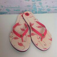 Kate Spade Pink Flamingo Flip Flops Womens Size 6 Sandals New York Slip On Shoes