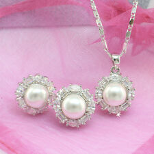 Silver Toned Freshwater Pearl Simple Necklace Earrings Set with CZ  Wholesale